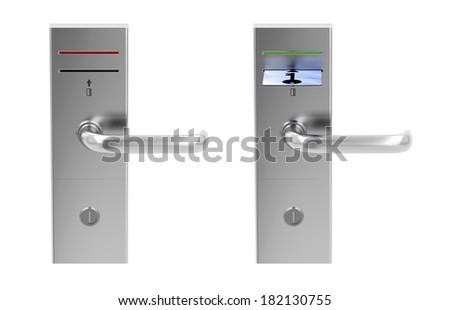 Keycard electronic locks isolated on white - stock photo