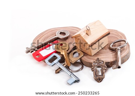 Keychain in the shape of a house with different keys - stock photo