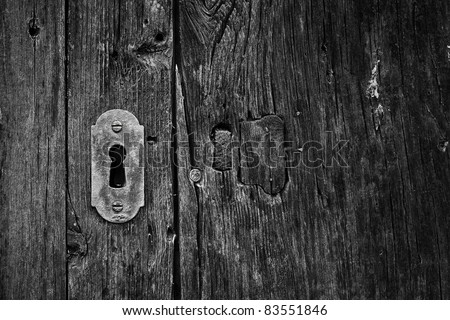 keyhole black and white - stock photo