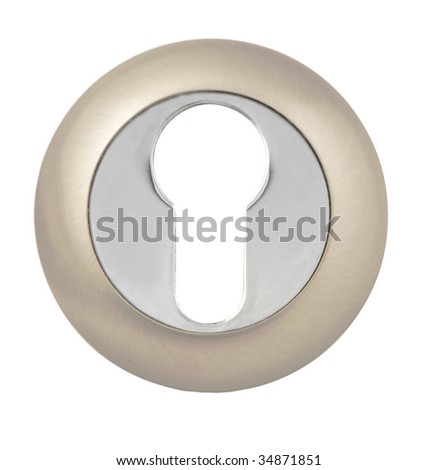 Keyhole in Modern Escutcheon on white with Clipping Path - stock photo