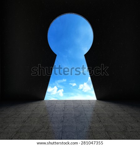 Keyhole looking out into blue sky
