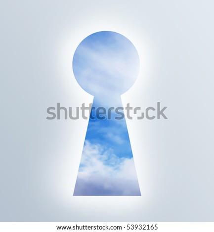 keyhole showing the sky open.Illustration - stock photo