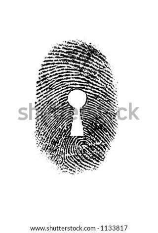 Keyhole thumbprint - stock photo