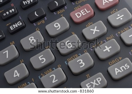Keypad on a scientific calculator, up close and personal.