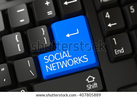 Keypad Social Networks on Computer Keyboard. Social Networks on Modern Laptop Keyboard Background. Concepts of Social Networks, with a Social Networks on Blue Enter Button on Black Keyboard. 3D. - stock photo
