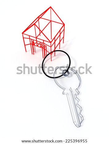 Keyring with a shape of a small house both wireframed - stock photo