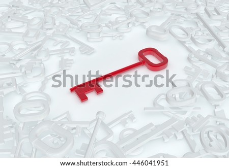 Keys abstract red unique model white pile, 3d illustration - stock photo