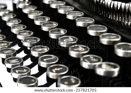 Keys and details of the mechanism of an old typewriter. - stock photo