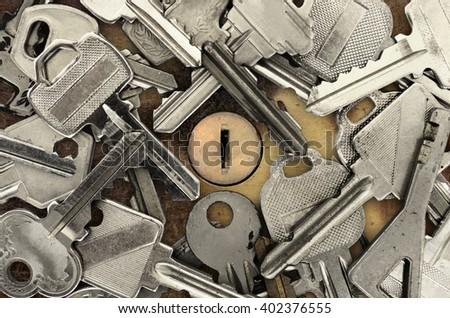 Keys and keyhole - stock photo