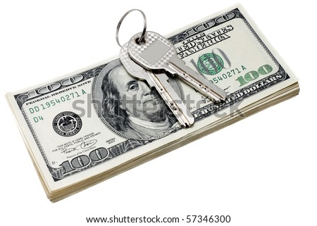 keys and stack of dollars isolated on a white background - stock photo