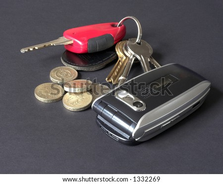 keys coins and phone