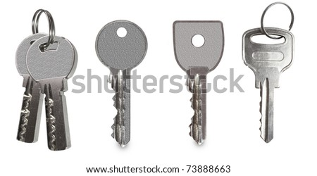 keys collection isolated on white background - stock photo