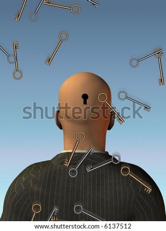 Keys fall - Open mind - stock photo