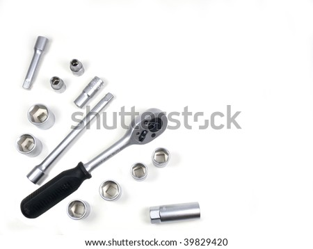 Keys for car repairs on a white background - stock photo