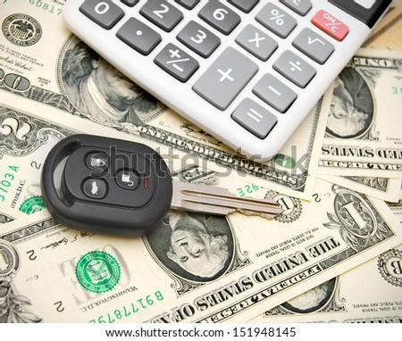 Keys from the car on money. - stock photo
