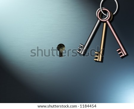 Keys hang near a keyhole within which can be seen US Dollars - stock photo