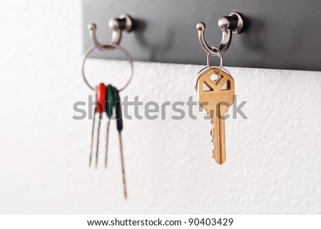 Keys Hanging From Hooks - stock photo