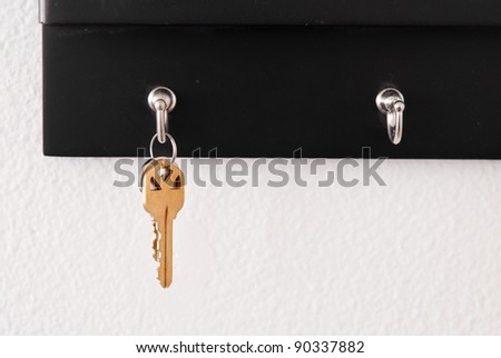 Keys Hanging on Hook - stock photo