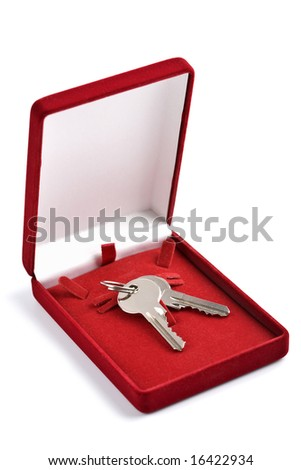 keys in red gift box isolated - stock photo