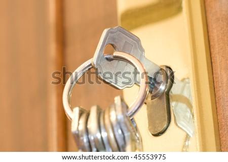 keys in the door lock - stock photo