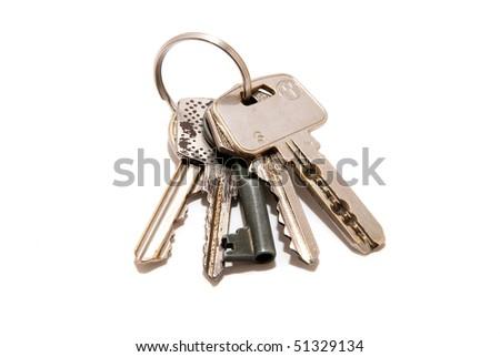 keys isolated on white - stock photo