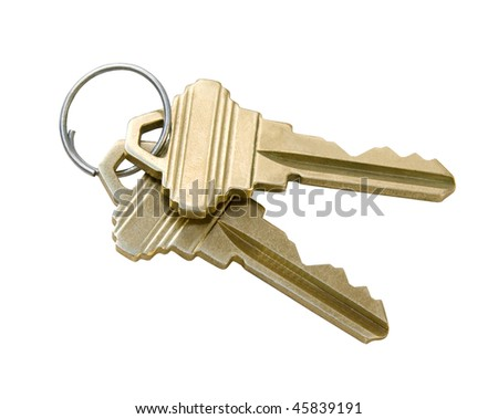 Keys isolated with clipping path - stock photo