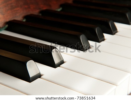 keys of a vintage piano close up - stock photo