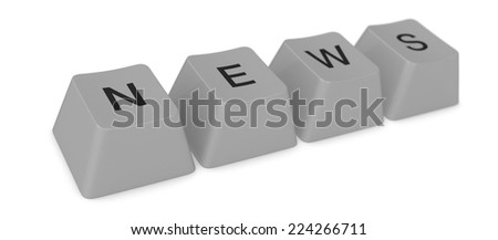 keys of an old keyword forming the word: news (3d render) - stock photo