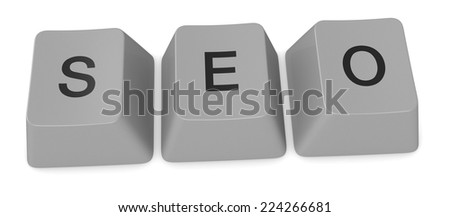 keys of an old keyword forming the word: seo (3d render) - stock photo