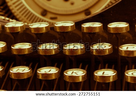 keys of an old typewriter. symbolic photo for communication in former times - stock photo