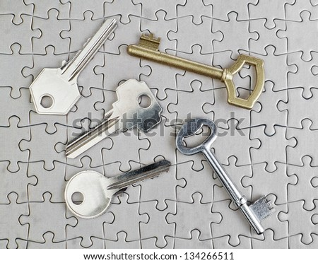 Keys of different types of puzzles on a close-up of gold and silver. - stock photo