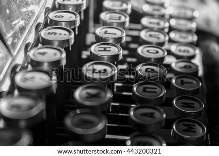 Keys old typewriter - stock photo