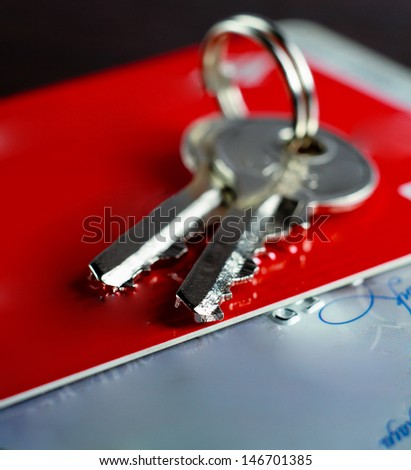 Keys on a business card