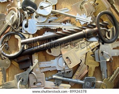 keys on a wooden background - stock photo