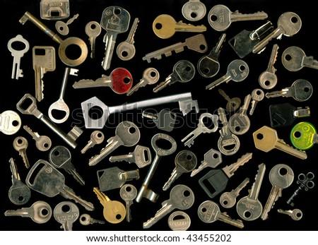 Keys on black - stock photo