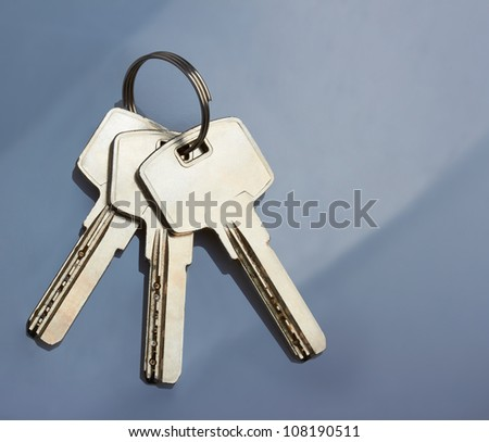 keys on blue background
