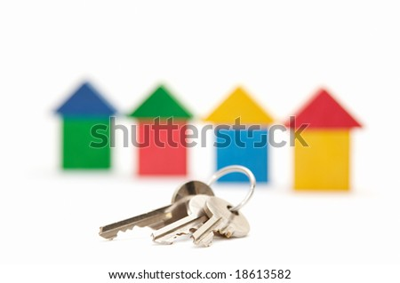 keys on the houses background