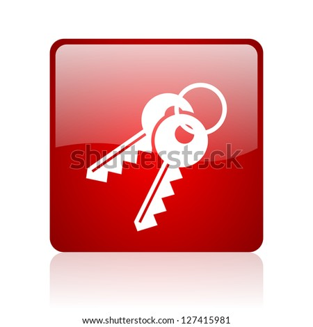 keys red square glossy web icon on white background