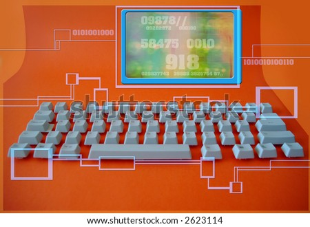 keys removed from a computer keyboard setup in their original positions to create unusual image - stock photo