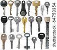 Keys set, old and new. Isolation on a whiteness - stock photo