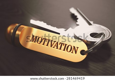 Keys to Motivation - Concept on Golden Keychain over Black Wooden Background. Closeup View, Selective Focus, 3D Render. Toned Image. - stock photo