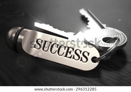 Keys to Success - Concept on Golden Keychain over Black Wooden Background. Closeup View, Selective Focus, 3D Render. Black and White Image. - stock photo
