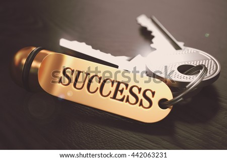 Keys to Success - Golden Keychain over Black Wooden Background. Closeup View, Selective Focus, 3D Render. Toned Image. - stock photo