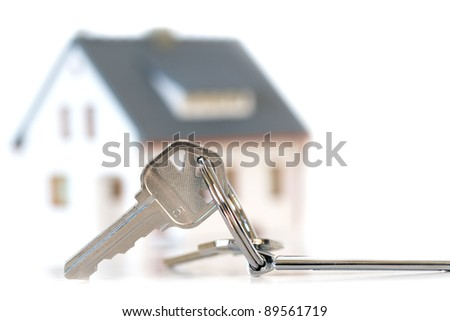 keys with house on background - stock photo