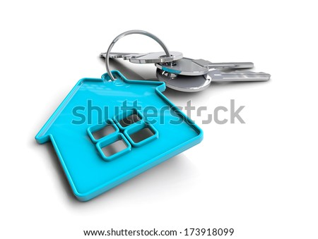 Keys with key ring of house icon on isolated white background. Concept of home owner or owning a property. - stock photo
