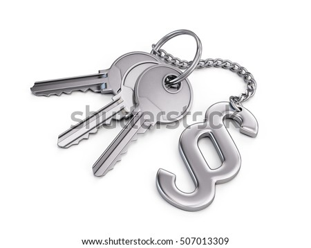 Keys with paragraph symbol isolated on white. 3d render