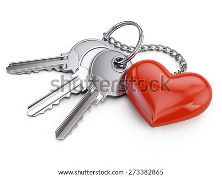 Keys with red heart isolated on white background  - stock photo