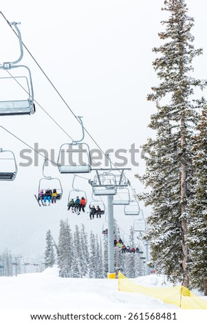 Keystone, Colorado, USA-February 22, 2015.  Ski resort at the end of the season after the snow storm in Colorado.