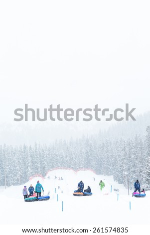 Keystone, Colorado, USA-February 22, 2015.  Ski resort at the end of the season after the snow storm in Colorado. - stock photo