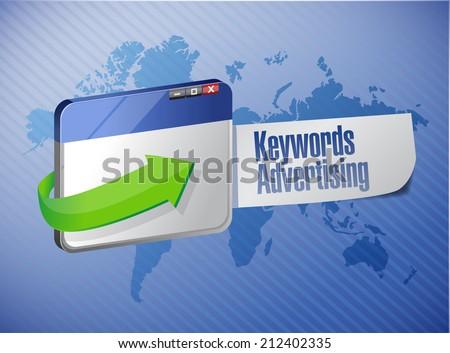 keyword advertising browser sign illustration design over a world map background - stock photo